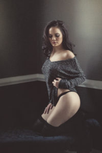 boudoir image, grey sweater